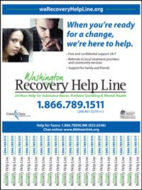washington recovery help line tear away flyer
