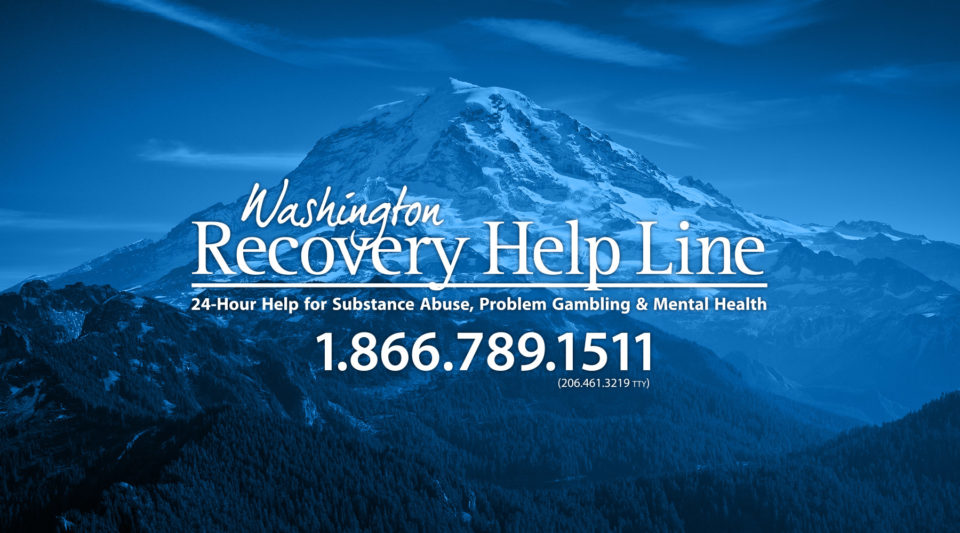 mount rainier with washington recovery help line logo and number 18667891511